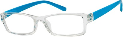 Angle of The Vegas in Clear/Neon Blue, Women's Rectangle Reading Glasses