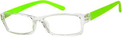 Angle of The Vegas in Clear/Neon Green, Women's Rectangle Reading Glasses