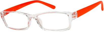 Angle of The Vegas in Clear/Neon Orange, Women's Rectangle Reading Glasses