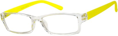 Angle of The Vegas in Clear/Neon Yellow, Women's Rectangle Reading Glasses