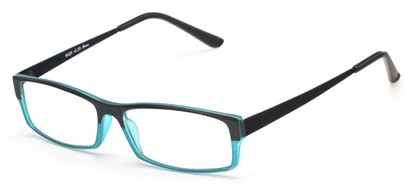 Angle of The Drew in Black/Aqua Blue, Women's and Men's Rectangle Reading Glasses