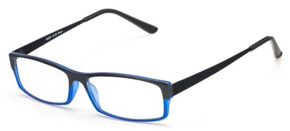 Angle of The Drew in Black/Cobalt Blue, Women's and Men's Rectangle Reading Glasses