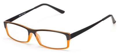 Angle of The Drew in Black/Orange, Women's and Men's Rectangle Reading Glasses