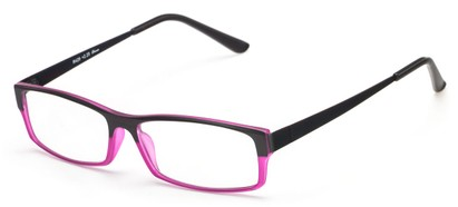 Angle of The Drew in Black/Hot Pink, Women's and Men's Rectangle Reading Glasses