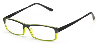 Angle of The Drew in Black/Olive Green, Women's and Men's Rectangle Reading Glasses