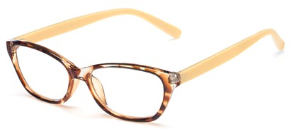 Angle of The Catherine in Brown Tortoise/Yellow, Women's Cat Eye Reading Glasses