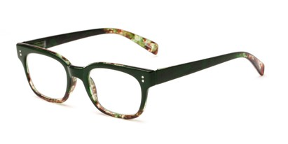 Angle of The Antique in Green, Women's and Men's Retro Square Reading Glasses