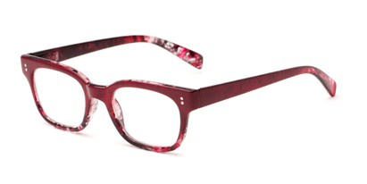Angle of The Antique in Red, Women's and Men's Retro Square Reading Glasses