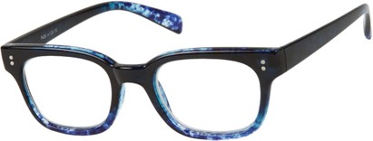 Angle of The Porter in Black/Blue Marble, Women's and Men's Retro Square Reading Glasses