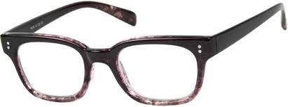 Angle of The Porter in Black/Brown Marble, Women's and Men's Retro Square Reading Glasses