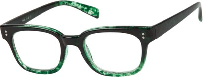 Angle of The Porter in Black/Green Marble, Women's and Men's Retro Square Reading Glasses