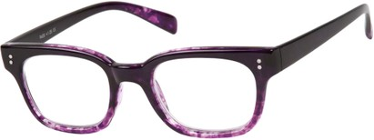 Angle of The Porter in Black/Purple Marble, Women's and Men's Retro Square Reading Glasses