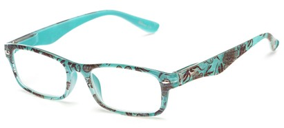 Angle of The Bethany in Blue Floral, Women's and Men's Retro Square Reading Glasses