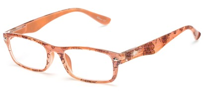 Angle of The Bethany in Peach/Pink Floral, Women's and Men's Retro Square Reading Glasses