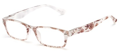 Angle of The Bethany in White Floral, Women's and Men's Retro Square Reading Glasses