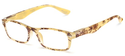 Angle of The Bethany in Yellow Floral, Women's and Men's Retro Square Reading Glasses