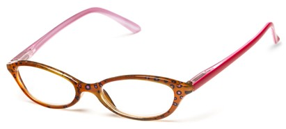 Angle of The Abigail in Brown/Pink, Women's Cat Eye Reading Glasses
