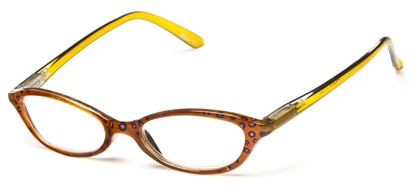 Angle of The Abigail in Brown/Green, Women's Cat Eye Reading Glasses