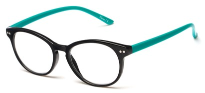 Angle of The Portobello in Black/Jade Green, Women's and Men's Round Reading Glasses