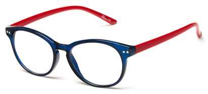Angle of The Portobello in Navy Blue/Red, Women's and Men's Round Reading Glasses