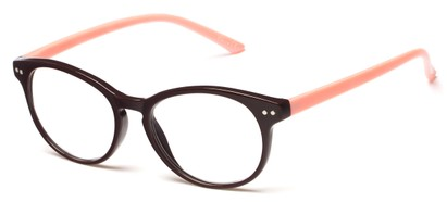 Angle of The Portobello in Brown/Pink, Women's and Men's Round Reading Glasses