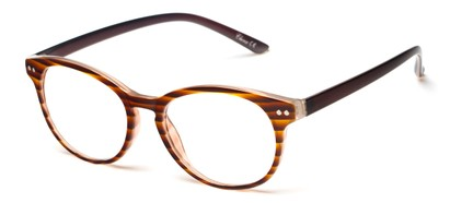 Angle of The Portobello in Brown Stripe/Grey, Women's and Men's Round Reading Glasses