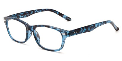 Angle of The Comet in Blue Tortoise, Women's and Men's Rectangle Reading Glasses