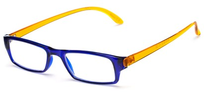 Angle of The Lisa in Blue/Yellow, Women's Rectangle Reading Glasses