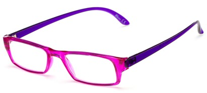 Angle of The Lisa in Pink/Purple, Women's Rectangle Reading Glasses