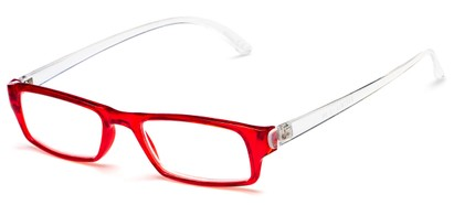 Angle of The Lisa in Red/Clear, Women's Rectangle Reading Glasses
