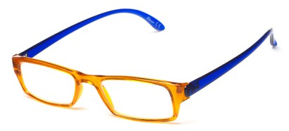 Angle of The Lisa in Yellow/Blue, Women's Rectangle Reading Glasses
