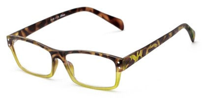 Angle of The Roman in Lime Green/Brown Tortoise, Women's and Men's Rectangle Reading Glasses
