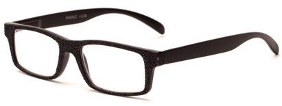 Angle of The Tansy in Black and Black Denim, Women's and Men's Rectangle Reading Glasses