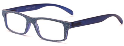 Angle of The Tansy in Blue and Blue Denim, Women's and Men's Rectangle Reading Glasses