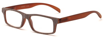Angle of The Tansy in Brown and Brown Denim, Women's and Men's Rectangle Reading Glasses