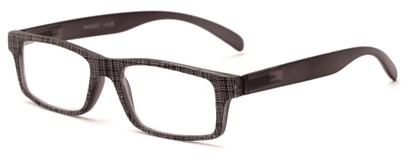 Angle of The Tansy in Grey and Grey Denim, Women's and Men's Rectangle Reading Glasses