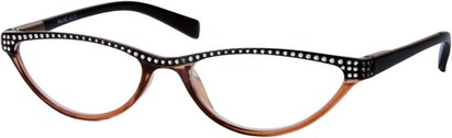 Angle of The Farrah in Brown/Black, Women's Cat Eye Reading Glasses