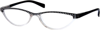 Angle of The Farrah in Clear/Black, Women's Cat Eye Reading Glasses