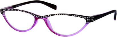 Angle of The Farrah in Purple/Black, Women's Cat Eye Reading Glasses