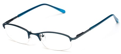 Angle of The Braxton in Matte Blue, Women's and Men's Rectangle Reading Glasses