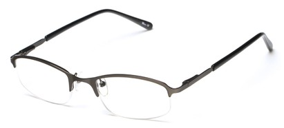 Angle of The Braxton in Matte Grey, Women's and Men's Rectangle Reading Glasses