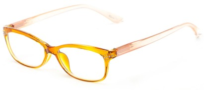 Angle of The Honey in Yellow/Light Pink, Women's Rectangle Reading Glasses