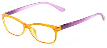 Angle of The Honey in Orange/Purple, Women's Rectangle Reading Glasses