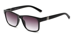 Angle of The Royal Reading Sunglasses in Glossy Black with Smoke, Women's and Men's Retro Square Reading Sunglasses