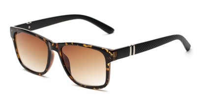 Angle of The Royal Reading Sunglasses in Glossy Tortoise with Amber, Women's and Men's Retro Square Reading Sunglasses