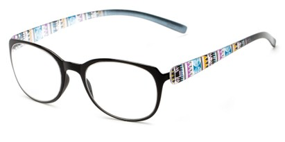 Angle of The Leigh in Black Multi, Women's Square Reading Glasses