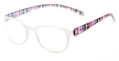 Angle of The Leigh in Clear Multi, Women's Square Reading Glasses
