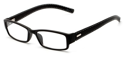 Angle of The Norfolk in Black, Women's and Men's Rectangle Reading Glasses