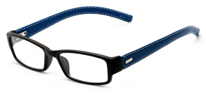Angle of The Norfolk in Black/Blue, Women's and Men's Rectangle Reading Glasses
