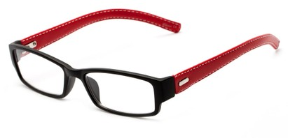 Angle of The Norfolk in Black/Red, Women's and Men's Rectangle Reading Glasses